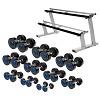 Sport-Thieme Kompakthantel Set PU, 2,5-22,5 kg, inkl. doppeltem Hantelablageständer