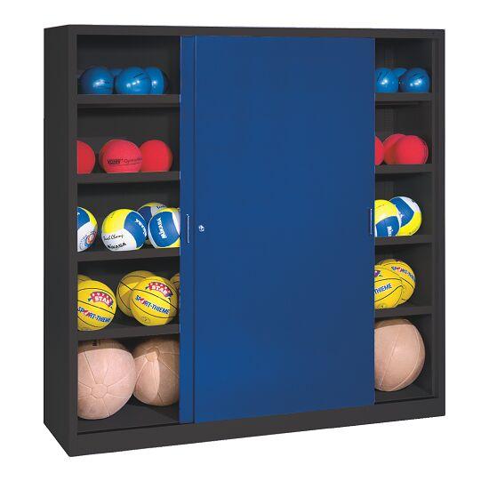 Ballschrank, HxBxT 195x190x60 cm, mit Vollblech-Schiebetüren (Typ 4) Enzianblau (RAL 5010), Anthrazit (RAL 7021)