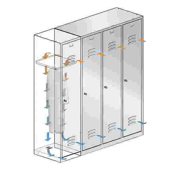 "C+P Doppel-Garderobenschrank ""S 2000 Classic"" mit 10 cm hohem Sockel 180x61x50 cm/ 4 Fächer, 30 cm"