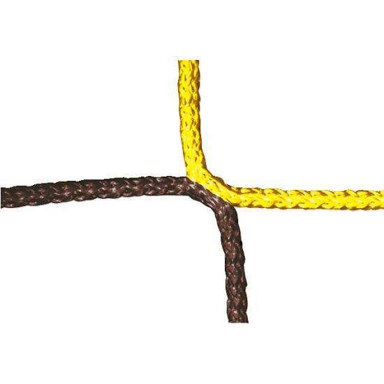 Knotenloses Herrenfußball-Tornetz mit Schachbrettmuster Gelb-Schwarz