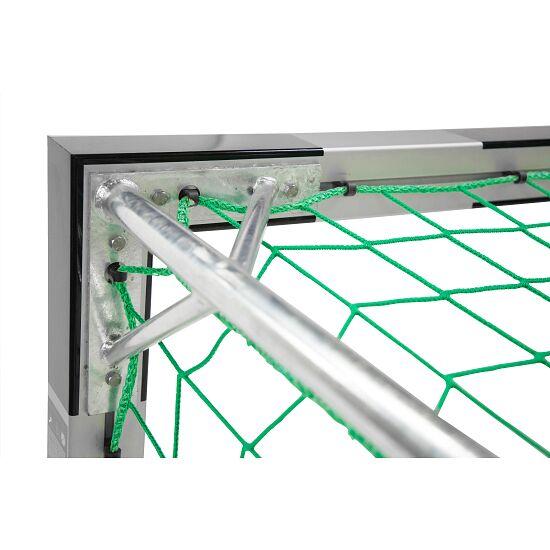 Sport-Thieme Hallenfußballtor 3x2 m, in Bodenhülsen stehend mit Eckverbindung Mit feststehenden Netzbügeln, Schwarz-Silber