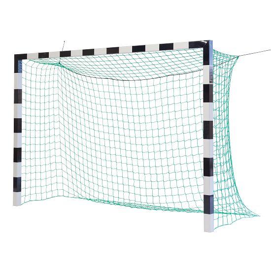 Sport-Thieme Hallenfußballtor 3x2 m, in Bodenhülsen stehend mit Eckverbindung Ohne Netzbügel, Schwarz-Silber