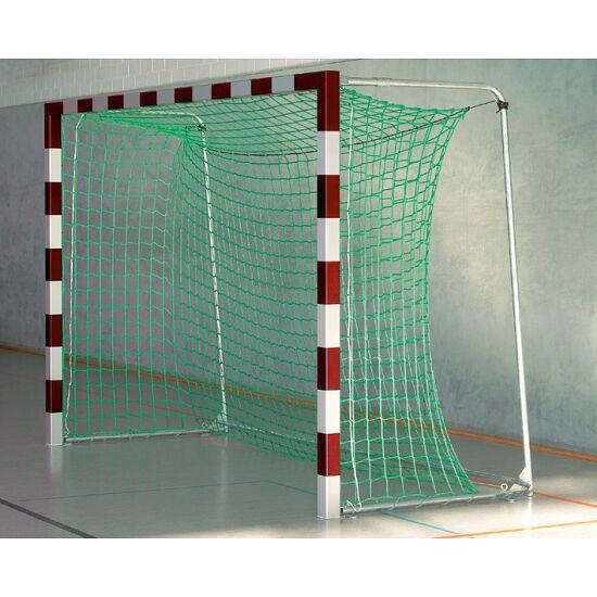 Sport-Thieme Hallenfußballtor 3x2 m, in Bodenhülsen stehend mit Eckverbindung Mit anklappbaren Netzbügeln, Rot-Silber