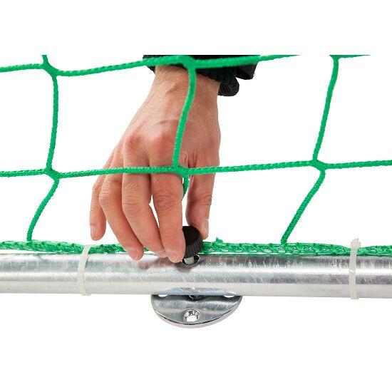 Sport-Thieme Hallenhandballtor  3x2 m, frei stehend mit patentierter Eckverbindung Mit anklappbaren Netzbügeln, Schwarz-Silber