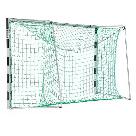 Sport-Thieme Hallenhandballtor  3x2 m, in Bodenhülsen stehend mit anklappbaren Netzbügeln Verschraubte Eckverbindungen, Schwarz-Silber