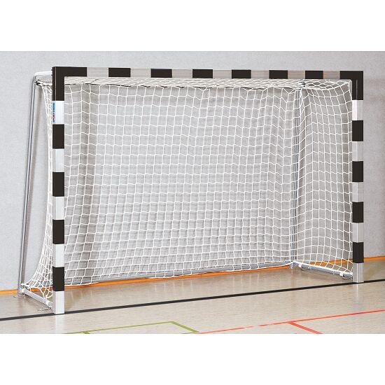 Sport-Thieme Hallenhandballtor  3x2 m, in Bodenhülsen stehend mit anklappbaren Netzbügeln Verschweißte Eckverbindungen, Schwarz-Silber