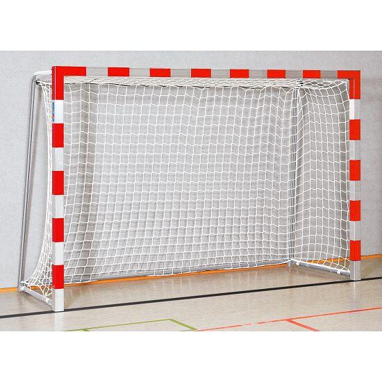 Sport-Thieme Hallenhandballtor  3x2 m, in Bodenhülsen stehend mit anklappbaren Netzbügeln Verschweißte Eckverbindungen, Rot-Silber