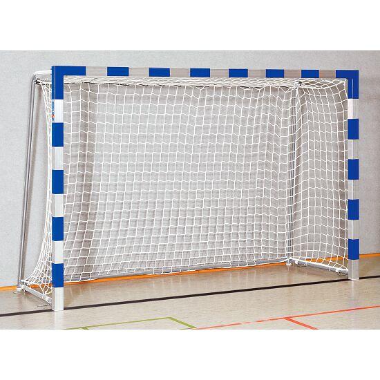 Sport-Thieme Hallenhandballtor  3x2 m, in Bodenhülsen stehend mit anklappbaren Netzbügeln Verschweißte Eckverbindungen, Blau-Silber