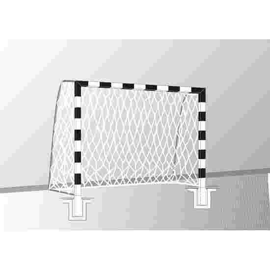 Sport-Thieme Hallenhandballtor  3x2 m, in Bodenhülsen stehend Verschraubte Eckverbindungen, Schwarz-Silber