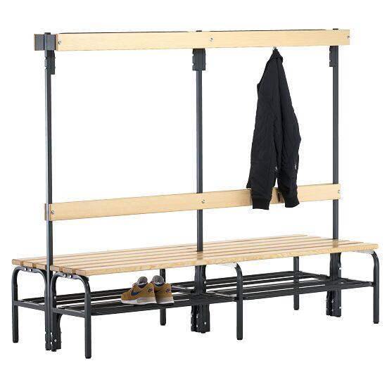 Sypro Wolf® Umkleidebank für Trockenräume mit Rückenlehne, doppelseitig 2,00 m, Mit Schuhrost