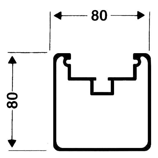 Transportrollen für freistehende Tore Quadratprofil 80/80 mm, Profilnut tiefer liegend