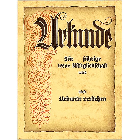 """Urkunde """"Jubiläum und Mitgliedschaft"""" 24x32 cm. 300 g/m². mit Text"""