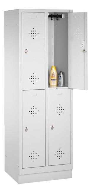 "C+P Doppel-Garderobenschrank ""S 2000 Classic"" mit 10 cm hohem Sockel 180x81x50 cm/ 4 Fächer, 40 cm"
