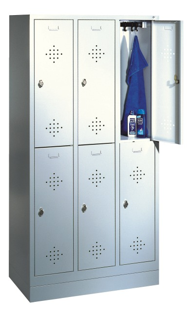 "Doppel-Garderobenschrank ""S 2000 Classic"" mit 100 mm hohem Sockel 180x90x50 cm/ 6 Fächer, 300 mm"