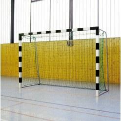 Sport-Thieme Hallenhandballtor  3x2 m, in Bodenhülsen stehend mit anklappbaren Netzbügeln Schwarz-Silber, Verschweißte Eckverbindungen