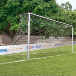 Alu-Fußballtor, 7,32x2,44 m, verschraubte Gehrung, in Bodenhülsen stehend