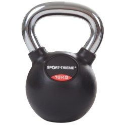 Sport-Thieme® Kettlebell gummiert mit glattem Chrom-Griff