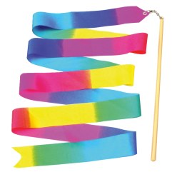 Gymnastikband Regenbogen mit Stab