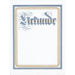 """Urkunde """"Neutral"""" mit blauem Rand"""