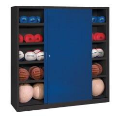 C+P Ballschrank  HxBxT 195x120x50 cm, mit Vollblech-Schiebetüren (Typ 4) Lichtgrau (RAL 7035), Lichtgrau (RAL 7035)