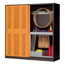 Sportgeräteschrank, HxBxT 195x200x60 cm, mit Lochblech-Schiebetüren (Typ 5) Sienarot (RDS 050 40 50), Lichtgrau (RAL 7035)