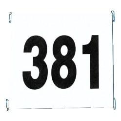 Startnummernsatz aus Tyvek mit Werbeaufdruck
