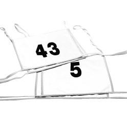 Doppel-Startnummern mit Paspelbändchen Zahlen 1- oder 2-stellig, Weiß