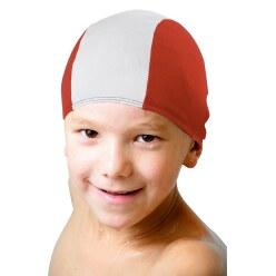 Textil-Schwimmkappen Rot-Weiß, Kinder