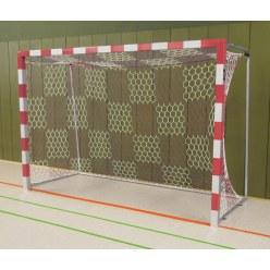Sport-Thieme Hallenhandballtor  3x2 m, frei stehend mit feststehenden Netzbügeln Schwarz-Silber, Verschweißte Eckverbindungen
