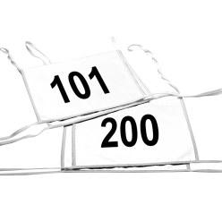 Satz Doppel-Startnummern, Weiß, Nr. 101-200