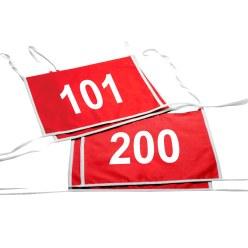 Satz Doppel-Startnummern, Rot, Nr. 101-200