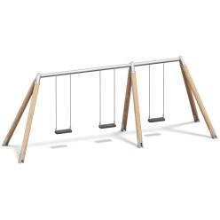 Playparc Dreifachschaukel Holz/Metall