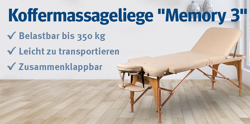 "Koffermassageliege ""Memory 3"" -  Belastbar bis 350 kg"