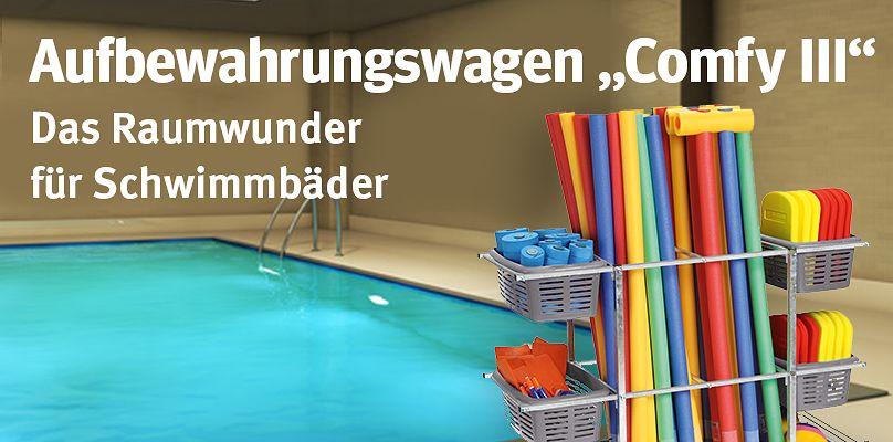 Aufbewahrungswagen Comfy III -  Das Raumwunder für Schwimmbäder